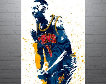 LeBron James Cleveland Cavaliers, Sports Art Print, Basketball Poster, Kids Decor, Watercolor Abstract Drawing Print, Modern Art