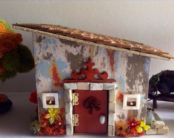 Miniature House with Working Opening Door Fairy Garden House Terrarium Decorations OOAK Miniature House Bonsai Garden