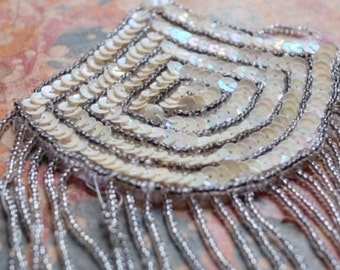 1920s embroidered beaded flapper applique sequin & glass bead tassle trim art deco, vintage wedding, great gatsby