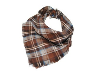 Dog gifts dog accessories brown plaid flannel dog bandana cats bandanas puppy clothes spring clothes for dog plaid scarves for cat gift huyw