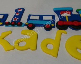 FONDANT TRAIN SET - Train Topper, Child's Name and age ready to decorate that special birthday cake Edible cake topper, Any color to match!