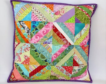 Colorful Patchwork Pillow, Quilted Pillow Cover, Throw Pillow, Handmade Shabby Chic Pillow, 18 x 18 Pillow Sham, Decorative Pillow