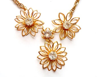 Vintage Rhinestone Flower Necklace Gold Tone Metal Cut Out Stamped Petals Layered Design Petite Dangle Drop Rope Chain