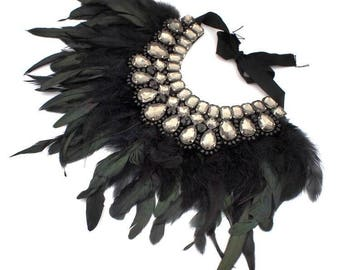 Feather bib necklace, Statement Chocker, Crystal Beaded Necklace,