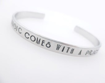 All magic, comes with a price, Handstamped Cuff, Silver Jewelry, TV inspired, Stamped bracelet, gift for her, gift idea, unisex adjustable