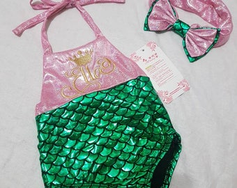 Kids Green/Pink Mermaid Swimsuit and Headband