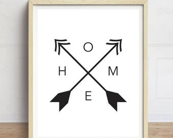 Home Print, Arrows Art Print, Minimalist Art, Tribal Print, Home Compass Print, Black and White