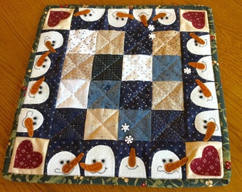 Appliqued Wool and Cotton Fabric Small Holiday Quilt