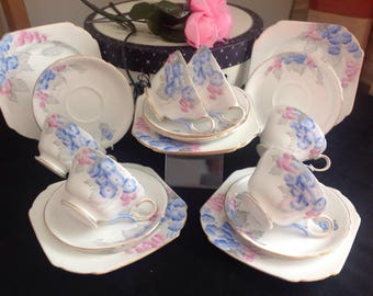 Beautiful Shelley bone china tea set. Blue Phlox.