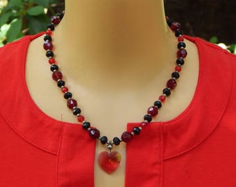 Vintage Sterling Silver, Red & Black Beaded Heart Necklace