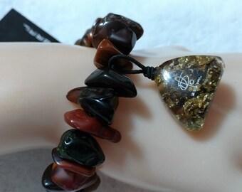 Sobral Signed ''Rocks''  Gold Leaf Zambia Bracelet, Brown Tones