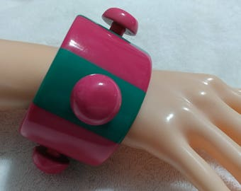 "Runway, Statement, Pink and Green ""UFO"" Striped Lucite bangle"