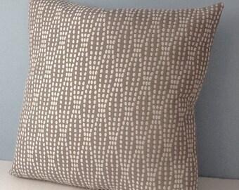 Taupe throw pillow. Waverly Strands 20x20 pillow cover. Gray Neutral decor. Geometric modern pillow Handmade Decorator sofa pillow. Zipper.