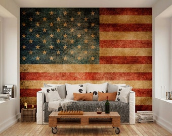 Flag wall decals etsy for American flag bedroom ideas