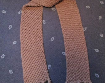 Taupe Scarf With Diagonal Pattern