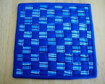 "Woven fabric potholder//Woven fabric trivet/Blue stripe woven fabric potholder/trivet//8"" potholder/trivet//Blue trivet//Blue potholder"