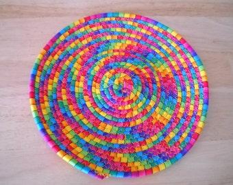 "Trivet//Round trivet//Coiled fabric trivet//Round potholder//Rainbow colors trivet//8"" round coiled fabric trivet//Candle mat"