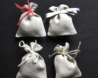 Natural Color Linen Gift bags per item or 10pcs  Wedding favor bags - Small Linen Favor Bags-  100% Natural Linen bags