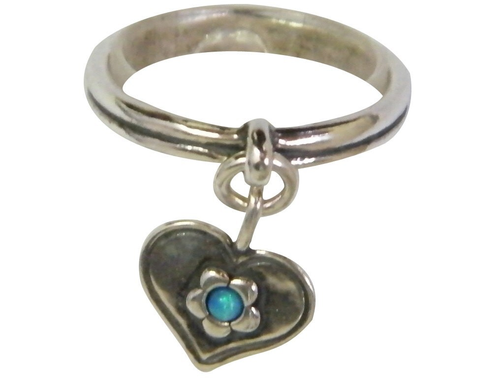 simple ring blue opal ring dainty ring shablool ring