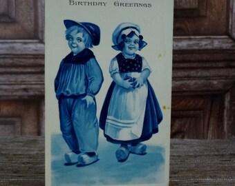 Barton & Spooner Antique Birthday Postcard // Dutch Children Postcard