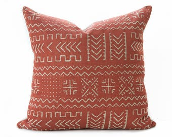 Mudcloth style pillow cover, Rust and Beige pillow - Burnt Orange Mud cloth - Mud cloth pillow - African style pillow - Boho Pillow