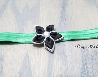 Infant Headbands - Baby Headbands - Flower Headband - Green Headband