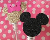 Minnie Mouse Mini bubble wands, Minnie birthday party favors, pink and gold birthday, party favors, Minnie Mouse birthday party, set of 12