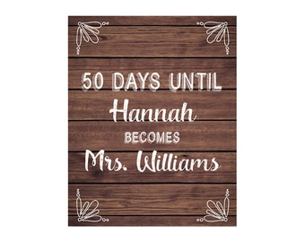 Wedding Countdown Sign, Bridal Shower Sign, Bridal Shower Printable, Rustic Wood Sign, DIY Printable JPEG PDF Instant Download220