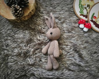 Basil the hare amigurumi crochet toy doll