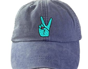 Peace Hand  Hat - Embroidered. Adjustable Leather Strap. More Colors. HER-LP101
