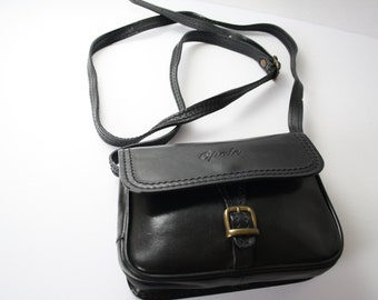 LEATHER purse for girls /young teens, cross body, shoulder purse, VINTAGE black genuine leather made in Italy