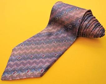 Missoni Cravatte Tie Pure Woven Silk Stripe Zigzag Pattern Color Vintage Designer Dress Necktie Made In Italy