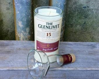 Man Cave Soy Candle, Upcycled Glenlivet 15 Year Scotch Liquor Bottle