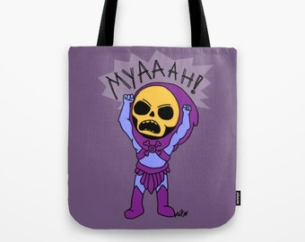 skeletor, he-man, tote bag, cartoon gift, geek gift, masters of the universe, school bag, book bag, 80s cartoon, retro bag, epic skeletor