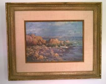 "Paul Strisik Oil on Canvas Board Painting ""Pebble Beach, Evening"" US Plein Air Painter"