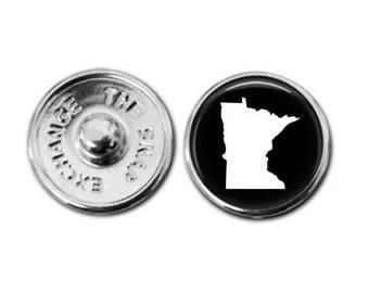 Minnesota charm, Minnesota map charm, snap button jewelry, button snap jewelry, button jewelry, snap charm jewelry, snap jewelry