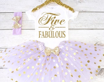Five and Fabulous. Girls Birthday Outfit. Tutu Set. Girl's 5th Birthday Tutu Outfit. Birthday Outfit Girl. Girl Outfit S6 5BD (LAV)