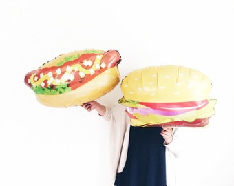 Hamburger OR Hot Dog Helium jumbo balloon - summer bbq - party decor - picnic