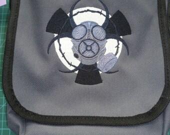 Gasmask design Bag Embroidered design Reporter Bag purse gas mask hazard chemical post apocalypse apocalyptic glow in the dark biohazard