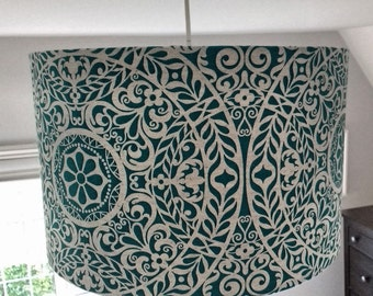 NEW! 40cm Large Drum Lampshade in Gorgeous Richloom R Tachenda Teal Linen Fabric. Ceiling Shade Table Lampshade