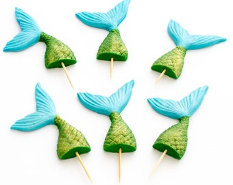 12 x 3D sugar mermaid tail cake toppers / cake stakes edible fondant