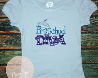 ANY design Kindergarten Diva or Princess 1st 2nd 3rd Preschool Diva Custom shirts ANY COLOR