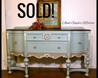 SOLD! Sideboard, Buffet, Hand Painted Buffet, Hand Painted Sideboard, Hand Painted Furniture, 1920's Jacobean Buffet  PICK UP only.