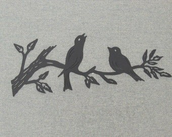 "18"" Wood Two Birds Sitting On A Tree Branch Wood Wall Art Decor"