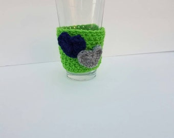 Seattle Cup Cozy/ Green Base with Blue and Grey hearts/ Green Crocheted Coffee Cozy