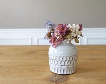 White bud vase - hand carved