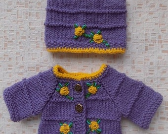 waldorf doll clothes, doll suit, doll sweater, doll knitted suit, doll crochet sweater, 15 inch doll clothes, doll clothing