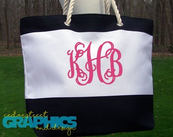 Monogrammed Beach bag - Personalized Tote Bag - Embroidered Beach Tote - Wedding party gift - Destination wedding - Mother's Day gift