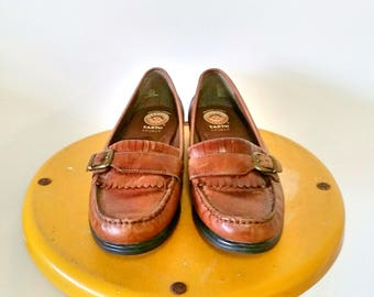 Earth Spirit Brown Leather Fringe Loafers Size 7