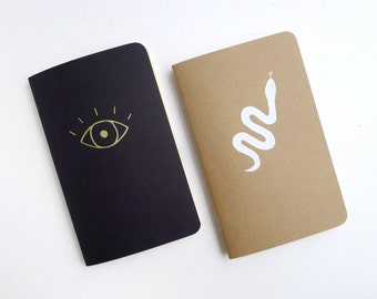 Curiosities Jotter Notebook Pack / Witchy Pocket Journal Pair / Snake & Eye Book / Plain or Graph Paper